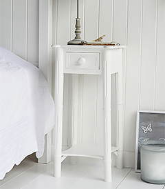 New England pure white bedside table with drawer and shelf to match the dressing table for decorating a pure white bedroom. Perfect for matching with coastal style interior design