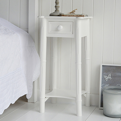New England pure white tall lamp table for white living room furniture