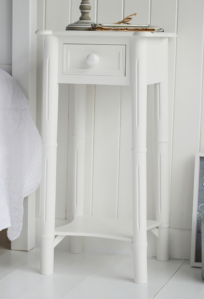 Shows full photo of the New England bedside in white with chunky handle