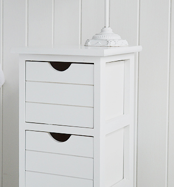 Close view of drawer from Dorset narrow white storage furniture for bedroom and bathroom