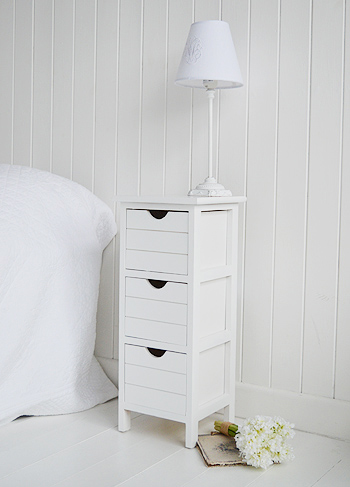 side view of Dorset narrow white bedside table with max 25cm wide