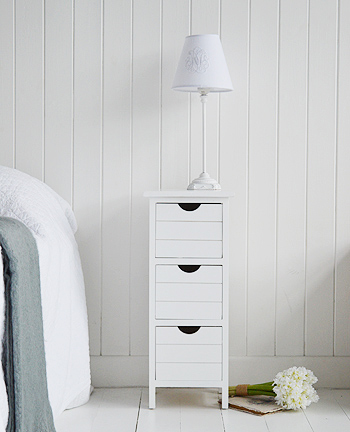 Slim Dorset narrow white bedside table 25cm max