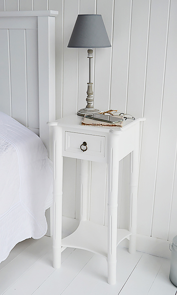 A narrow tall white bedside table with drawer new england for Tall white end table