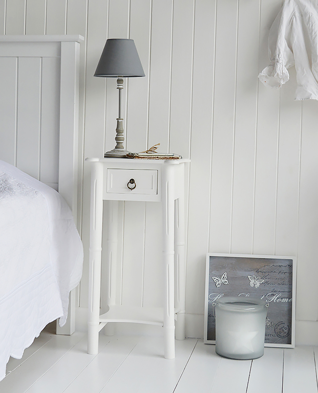 New England white bedside table with one drawer and shelf and atique brass drop pull handle