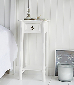 New England tall white bedside table with a shelf and drawer to match the dressing table. Ideal for decorating a french country bedroom