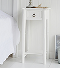 New England tall white bedside table with a shelf and drawer to match the drssing table. Ideal for decorating a french country bedroom