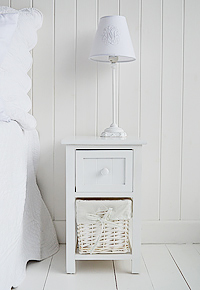 Bar Harbor white small narrow bedside table narrow 25cm wide