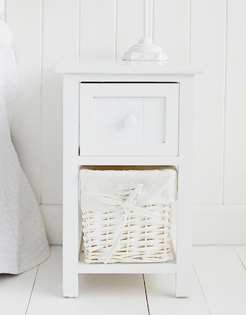 Bar Harbor Small White Bedside Table 25cm Wide The White