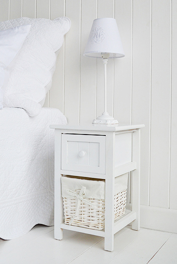 bar harbor small white bedside table 25cm wide bedroom