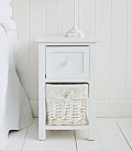 Bar Harbor narrow 25cm Small White bedside table with basket and drawer