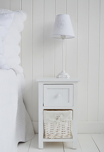 The Bar Harbor white bedside table at 33cm wide with 2 drawers