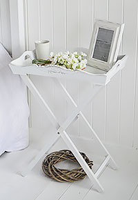White Butler Tray Bedside