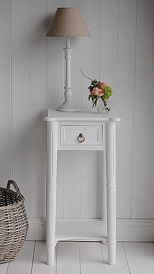 Tall White Bedside Table With Drawer New England Bedroom Furniture