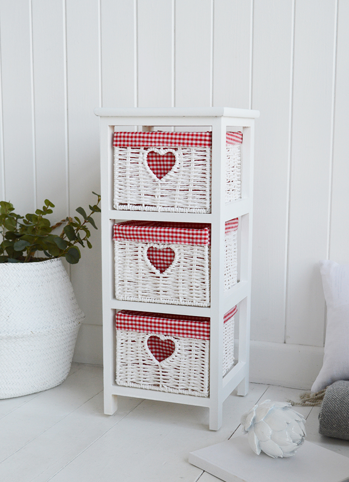 White Narrow bedside table with 3 drawers, 25cm wide unit from The White Cottage Range of slim white bedroom furniture with red and white gingham for cottage interiors