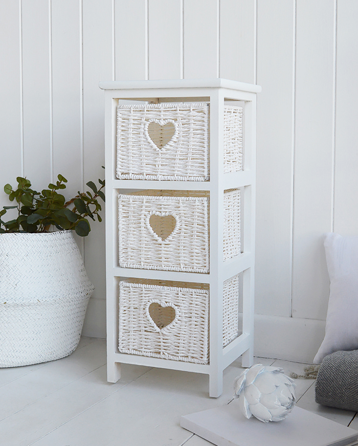 Slim White Cottage Narrow 25 Cm Wide Bedside Table