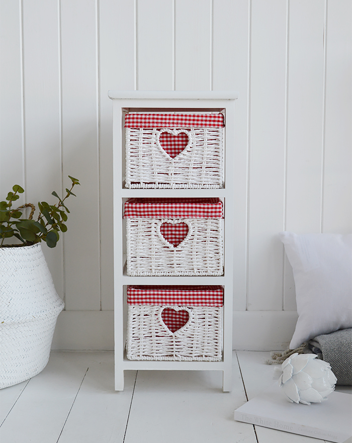 White Narrow bedside table with 3 drawers, 25cm wide unit from The White Cottage Range of slim white bedroom furniture with red and white gingham