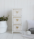 White Cottage narrow bedroom furniture. Slim 25cm wide with 3 drawers