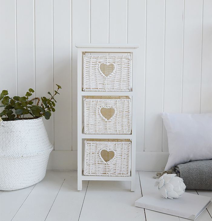 White Narrow bedside table with 3 drawers, 25cm wide unit from The White Cottage Range of slim white bedroom furniture