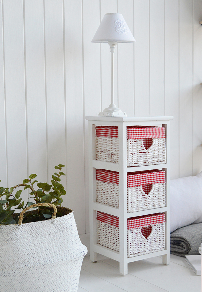 Slim white bedroom furniture with read and white gingham for a country styled bedroom