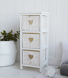 White Cottage narrow bedside table 25cm wide for slim bedroom furniture