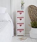 White Cottage narrow bedroom furniture. Slim 25cm wide with 4 drawers