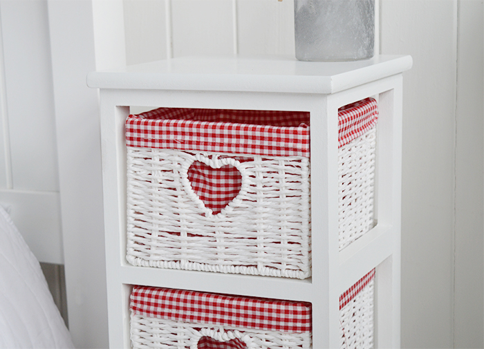 White Cottage Narrow Bedside Table with max width 25 cm. Slim for small bedroom furniture to show red gingham lining on the 4 basket drawers