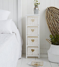 White Cottage Narrow Bedside Table with max width 25 cm. Slim for small bedroom furniture with 4 drawers