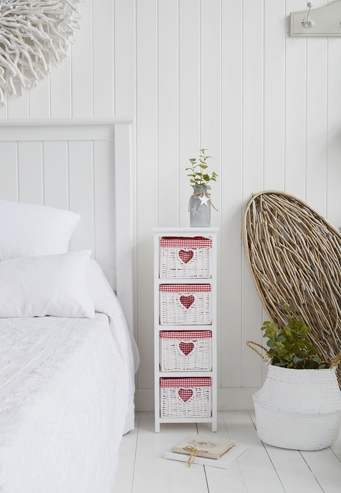 White Cottage narrow bedroom furniture. Slim 25cm wide with 4 drawers and red gingham linings