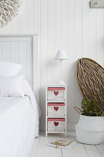 White Cottage Narrow Bedside Table with max width 25 cm. Slim for small bedroom furniture with red gingham linings on baskets