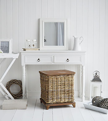 New England white dressing table with antique brass handles for the French country look