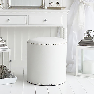 White and silver dressing table stool