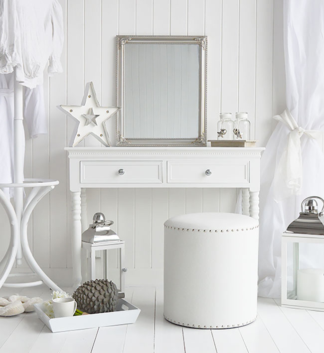 A luxury white bedroom with dressing table and stool. The New England white bedroom furniture range for a clean crisp white bedroom