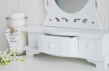 White Dressing table mirror with trinket drawers for white bedrooms