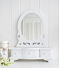 white dressing table mirror with trinket drawers