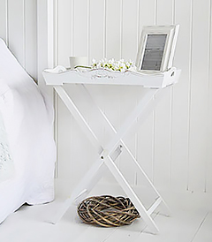 Butler tray folding table for white bedside furniture, ideal in homes by the sea when space is tight, this table can be stored away easily