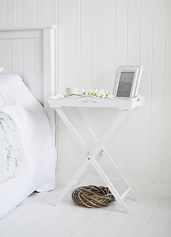 White Butler tray bedside table. A great guest room piece of bedroom furniture