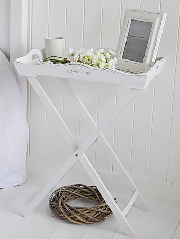 Butler tray folding table for white bedside furniture