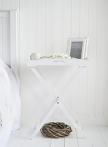 Butler Tray White bedside table, the ability to fold and store