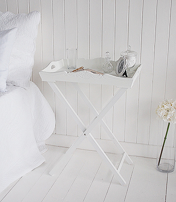 White Tray Table for bedroom furniture